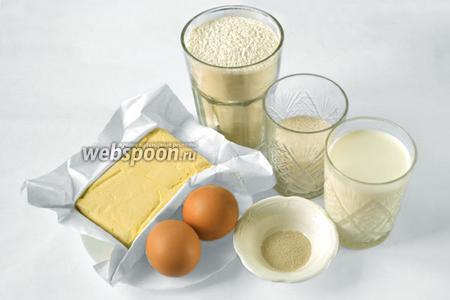 Для теста нам нужно приготовить муку, молоко, яйца, сливочное масло или маргарин, соль, сахар и сухие быстродействующие дрожжи.