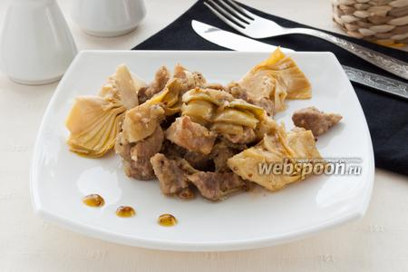 Свинина с маринованными артишоками и горчицей