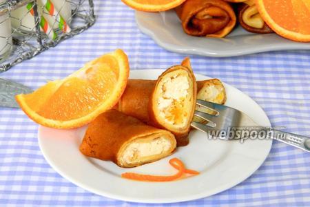 Апельсиновые блины с творогом