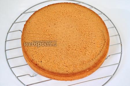 Готовый бисквит остудить в форме и только потом вынуть.