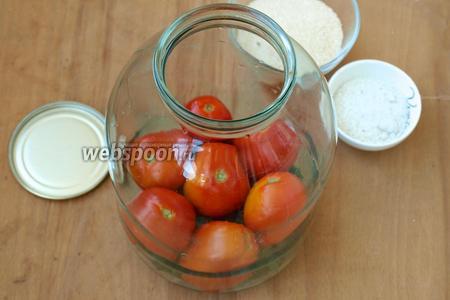 Поверх зелени выложить слой помидоров.