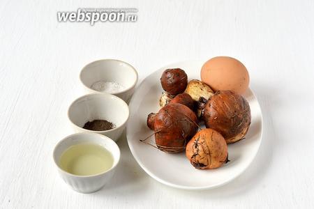 Для приготовления блюда нам понадобятся маслята, яйца куриные, соль, перец, подсолнечное масло.