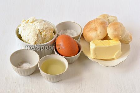 Для приготовления мягкого плавленого сыра с грибами нам понадобится творог, сливочное масло, соль, сода, яйцо, подсолнечное масло, белые грибы.