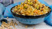 Фото рецепта Вегетарианский плов с нутом и горохом в мультиварке