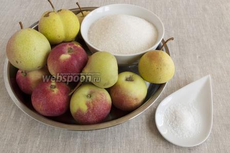 Подготовить фрукты, сахар и лимонную кислоту.