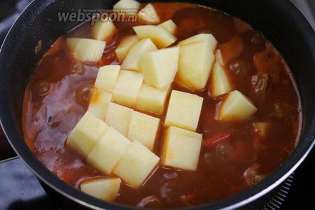Положить нарезанный крупными кубиками картофель. Варить на медленном огне до мягкости.