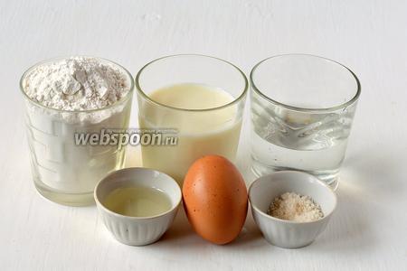 Для приготовления теста для пельменей нам понадобится мука, вода, соль, яйцо, подсолнечное масло, молоко.