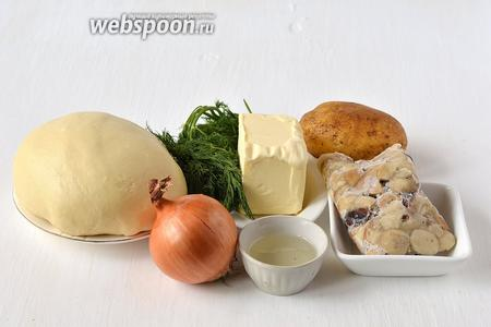 Для приготовления вареников с картофелем, белыми грибами и укропом нам понадобится  заварное тесто для вареников , укроп, лук, подсолнечное масло, сливочное масло, картофель, грибы белые замороженные.