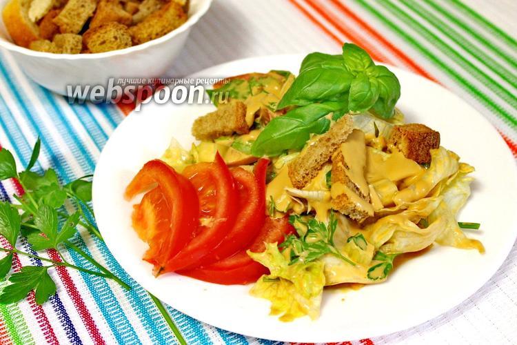 Фото Овощной салат с сухариками