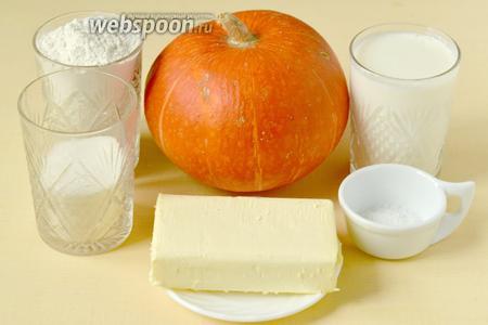 Для приготовления хингалш нам понадобится кефир, мука, соль, сода, тыква, сахар, сливочное масло.