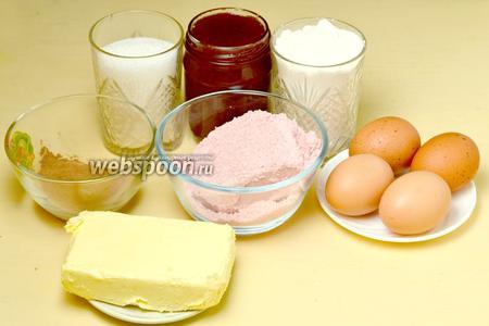 Для приготовления пирога нам понадобится мука, яйца, сливочное масло, сахар, концентрат киселя (лучше брать брикетный без красителей), какао, джем, сода и лимонный сок для её гашения.