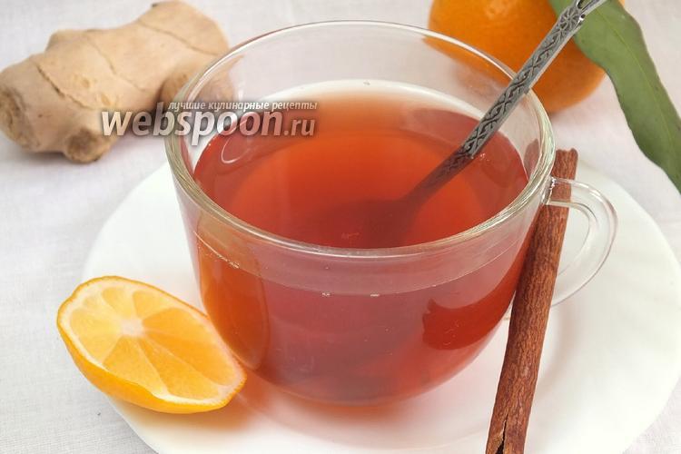 Фото Чайный коктейль с клюквой, ромашкой и имбирём