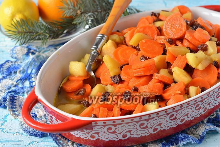 Фото Цимес из моркови, яблок и изюма