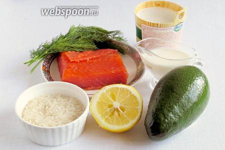 Для приготовления суши-торта нам понадобятся: любая красная рыба (подкопченая или слабосолёная), сливочно-творожный сыр с зеленью (я использовала «Альметте»), авокадо, кефир (сливки, йогурт), рис, лимон, рисовый уксус, сахар, соль.