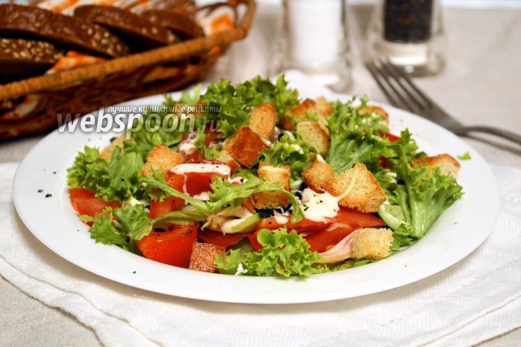 Фото Салат с сухариками и куриным филе