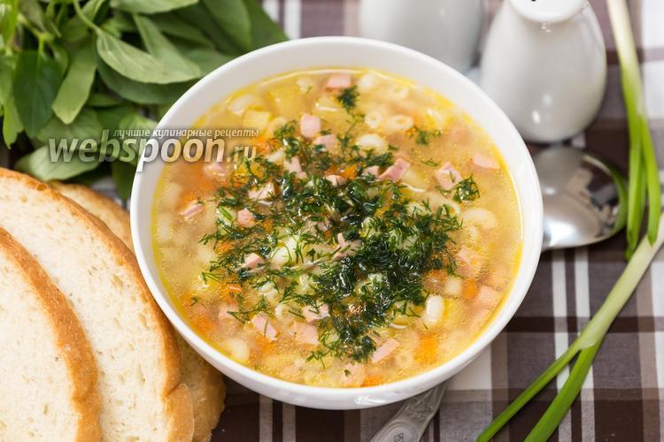 Фото Суп с макаронами и вареной колбасой