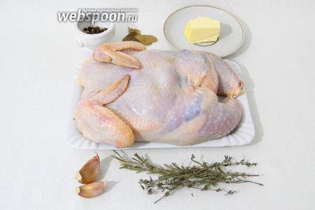 Дальше подготавливаем всё для запекания цыплёнка.