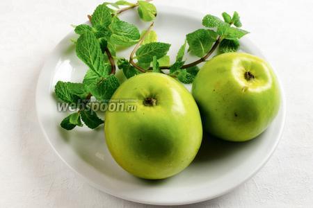 Фруктовый припёк: яблоки и листья мяты. Яблоки помыть, очистить от кожуры, натереть крупно на тёрке. С веточек мяты оборвать листики.