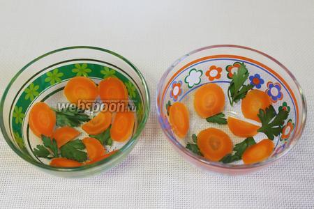 В подходящие формочки уложить тонкие кружочки моркови и листочки петрушки.