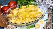 Фото рецепта Блинчики с луком и яйцом под сливочной заливкой
