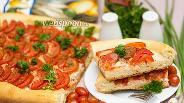 Фото рецепта Открытый пирог с сёмгой и томатами