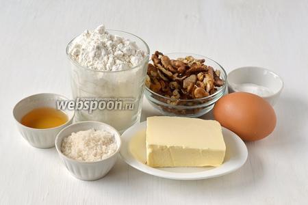 Для приготовления ореховых вафель нам понадобится мука, сахар, ванильный сахар, сливочное масло, яйца, разрыхлитель, коньяк.