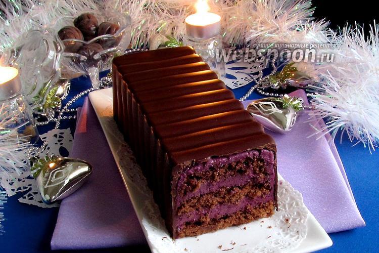 Фото Торт в шоколаде с черничным муссом