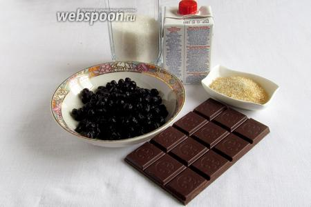 Для черничного мусса нам понадобятся: черника замороженная, сливки, сахар, желатин и шоколад.