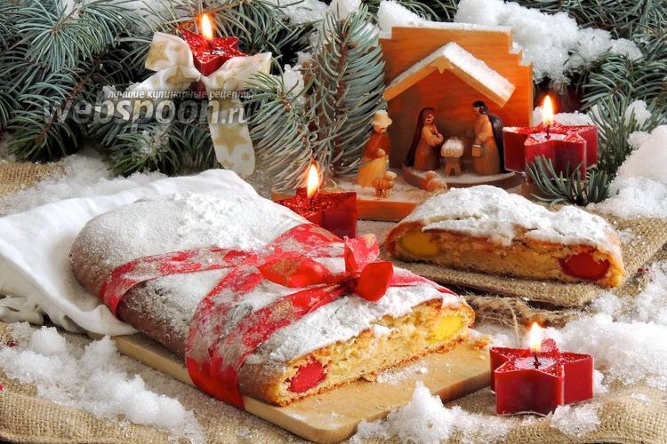 Фото Рождественский штоллен с марципаном