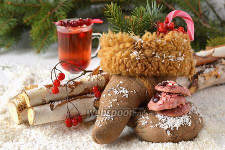 Розовое клюквенное печенье с шоколадом