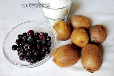 Для фруктовой начинки нам понадобится, киви, сахар, а так же черника для украшения.