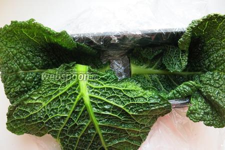 В форму выкладываем оболочку террина — подбираем листья, при необходимости срезаем черешок.