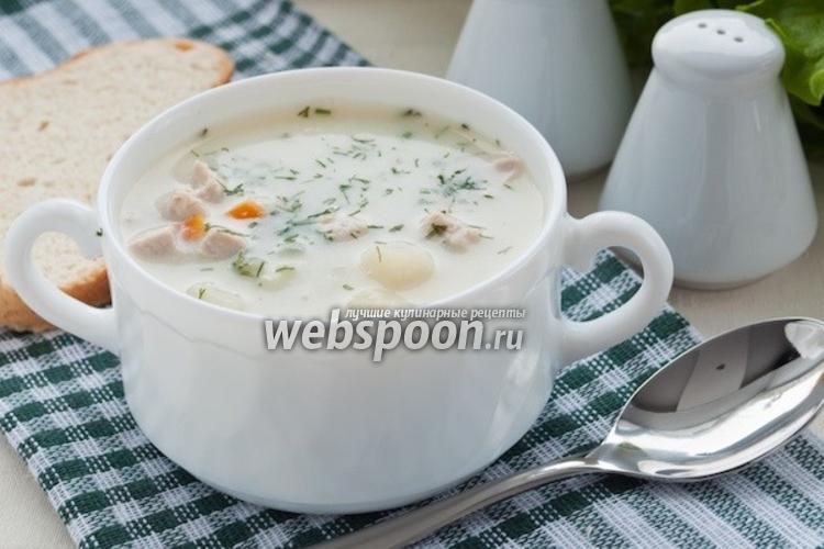 Фото Суп из куриного филе с плавленым сырком
