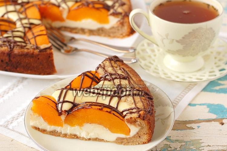 Фото Творожный пирог с персиками