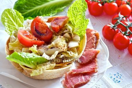 Овощной салат в хрустящей корзинке