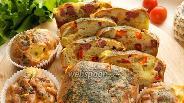 Фото рецепта Кекс с колбасой, сыром и сладким перцем