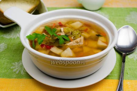 Суп из сухого зелёного горошка с сельдереем