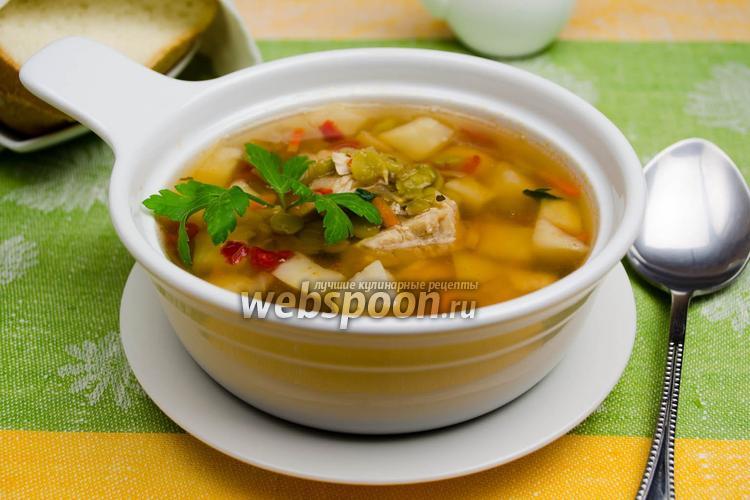 Фото Суп из сухого зелёного горошка с сельдереем