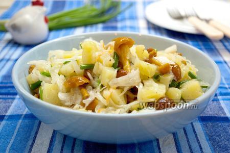 Салат с квашеной капустой и опятами