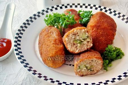 Зразы мясные с грибами и брокколи