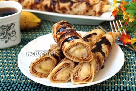 Тонкие блинчики фаршированные бананами
