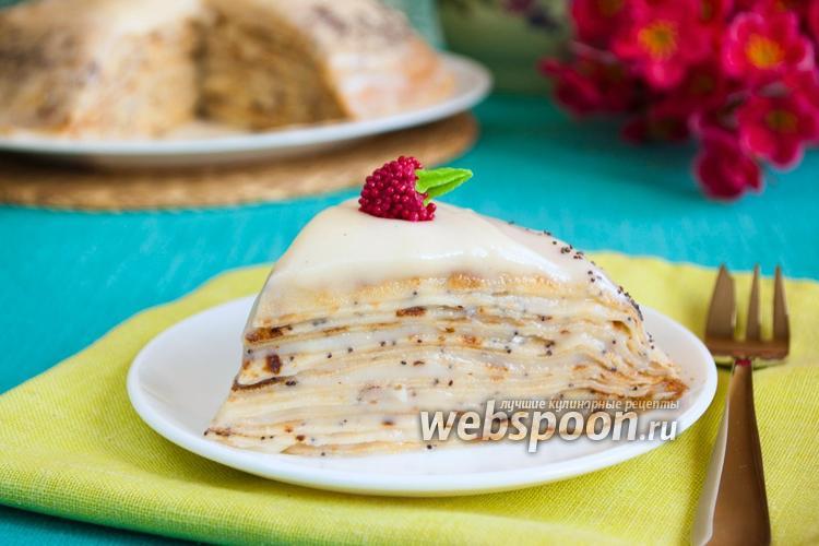 Фото Сладкий блинный пирог с маком