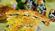 Фото рецепта Кулебяка с рыбой и капустой