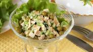 Фото рецепта Салат с черемшой и горошком