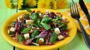 Фото рецепта Салат с беконом, радиччио и корном