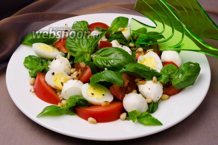 Фото Салат с помидорами и базиликом