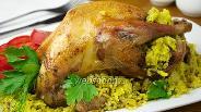 Фото рецепта Курица фаршированная пряным рисом и шпинатом