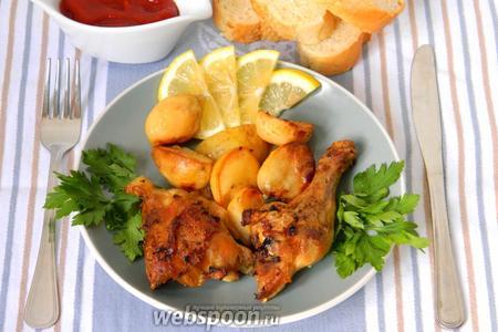 Курица с картофелем, лимоном и чесноком видео рецепт