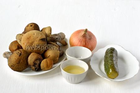 Для приготовления икры из лесных грибов нам понадобится лук, морковь, грибы лесные, солёный огурец, подсолнечное масло, соль, перец.