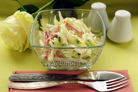 Салат из пекинской капусты с колбасой и огурцом